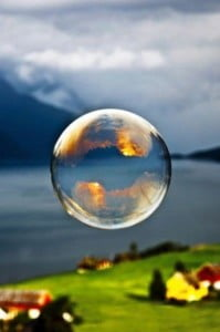 bubble in midair blue landscape