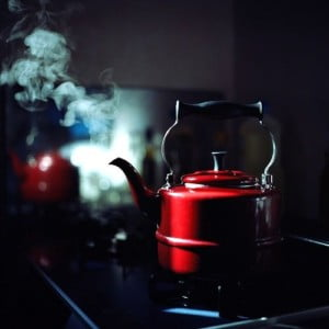 red teakettle on stove